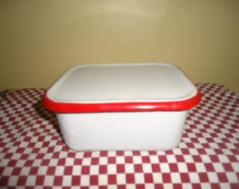 Retro Kitchenalia Enamelware Vintage Antique Red and White Enamel Covered Container