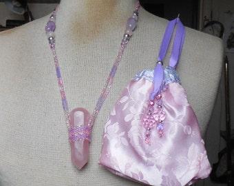 Beaded Rose Quartz Crystal Point Massage Wand Necklace with Rose Quartz Amethyst Semiprecious Stone Gemstone Beads Extra Large Size