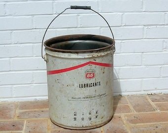 Antique Vintage Metal Bucket Vintage Phillips 66 Lubricants Bucket With Wooden Handle Vintage Advertising Sign