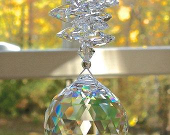 "Crystal Ball Sun Catcher, Prism, 30mm Swarovski Crystal Ball and Swarovski Crystal Octagons, Window Hanger, Choose Ball Color - ""CATHERINE"""