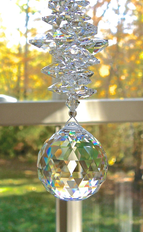"Crystal Ball Sun Catcher, Prism, 30mm Swarovski Crystal Ball and Swarovski Crystal Octagons, Window Hanger, Choose Ball Color - ""CATHERINE"""