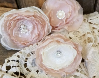 Fabric flowers for  DIY Bouquet, Craft supplies, Champange and Ivory, Wedding Decor, Wedding Table Decor,Wedding Centerpiece Set of 3