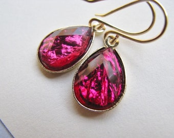 Raspberry Purple Drop Earrings, Red Purple Teardrop and Gold Earrings