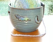 Yarn Bowl - Dachshund - Denim Blue