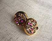 Druzy earrings, Faux Druzy stud earrings, Druzy stud earrings, Boho Jewelry, rose gold druzy earrings