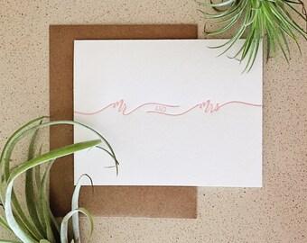 Mr and Mrs blush script letterpress card
