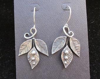 Triple leaf frond earrings