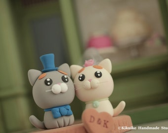 cat and kitty Wedding Cake Topper-love kitty,love cat with stump---k855