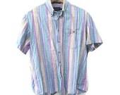 Casual Striped Blouse, Vintage 90s Striped Vintage Blouse, Cotton Short Sleeve Casual Blouse, Light Blue Striped Denim Blouse, 90s Blouse L