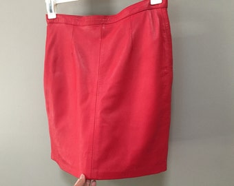 Red Leather Skirt, Vintage Leather Mini Skirt Soft Italian Leather 80s Skirt Straight Skirt Short Skirt Sexy Red Skirt red hot Leather 1980s