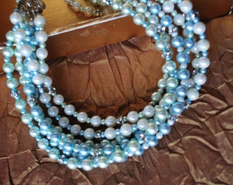 Vintage 50s pastel mint and blue faux pearl, six strand collar-choker necklace accented with clear rhinestones.