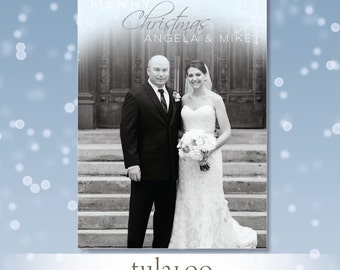 Ombre Snowflakes - Holiday Photo Card - PRINTABLE