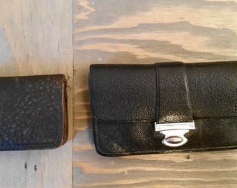 Two Vintage Small Leather Coin Purses One with Silver Clasp, Weathered Old Grubbly Leather Wallet Coin Purse