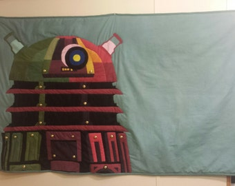 Handmade Dalek Art Quilt 62X40 inches Dr Who Exterminate!