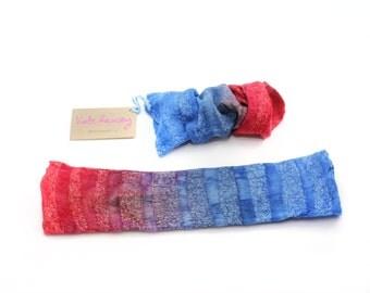 Handmade | Fingerless gloves | Mittens | Wrist cuffs | Felt glove | Blue Grey and Red