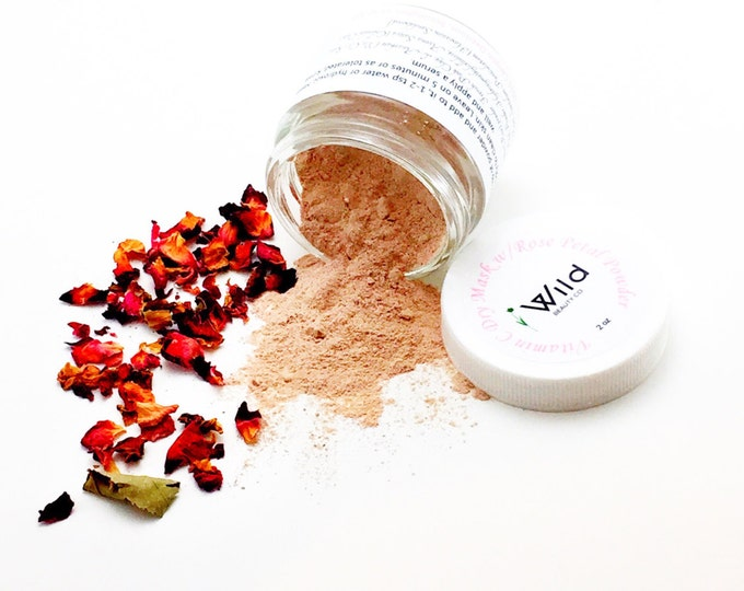 Vitamin C Dry Facial Mask with Rose Petal Powder, Botanical Mask, Rice Powder