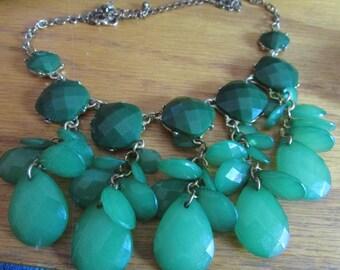 clover green bib necklace