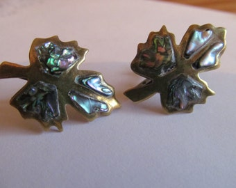 vintage leaf screwback earrings