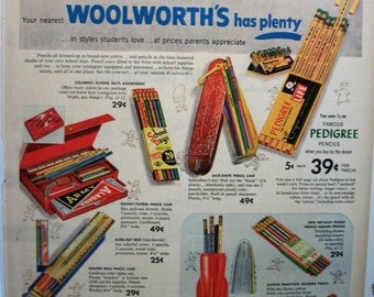 """Office ... 149  """"F. W. Woolworth Co. School Pencils"""" Ad - August 1953"""