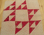 """Set of 19 Vintage hand Sew Red and White Quilt Blocks. 12"""" Blocks. Red Dress Prints and Shirtings From Early 1900's"""