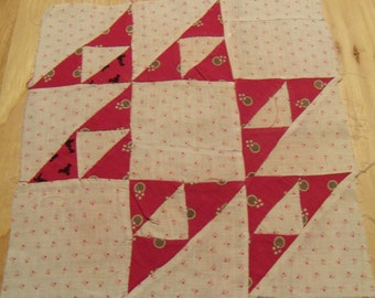 "Set of 19 Vintage hand Sew Red and White Quilt Blocks. 12"" Blocks. Red Dress Prints and Shirtings From Early 1900's"