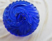 Vintage Style Button - 1 beautiful large, Czech pressed glass hand painted, feather swirl cobalt blue design, (lot C 149)