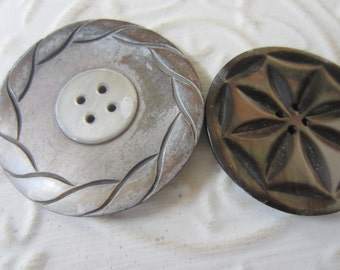 Vintage Buttons - Amazing mother of pearl 2 extra large size Victorian assorted carved designs, collector beautiful (apr 437 b)