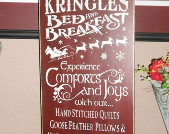 KRINGELE'S BED and BREAKFAST primitive wood sign