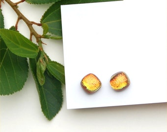 234 Fused dichroic glass earrings, square, sparkle, shiny, yellow, gold