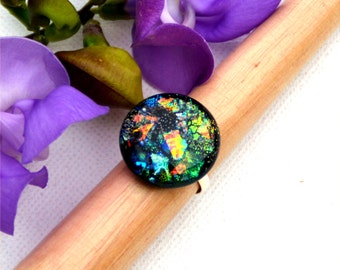 029 Fused dichroic glass ring, adjustable, silver plated, lots of colors