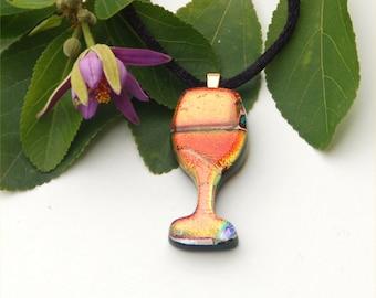 Fused dichroic glass pendant, glass, wine, red, orange