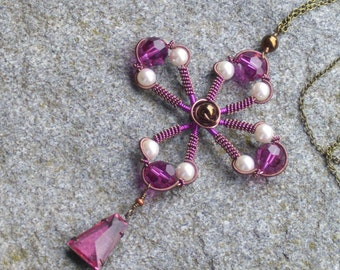 Copper and fuschia wire wrapped necklace with pearls and fuscia pink crystals.. vintage inspired