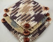 Coffeehouse III oversized cotton crocheted coasters set of three embellished with Czech coffee bean beads and buttons