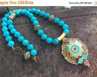 Christmas in July Turquoise Tribal Necklace   Saidia  Hand forged Clasp     Ethnic Necklace   Tribal Necklace   Turquoise Necklace  Middle E
