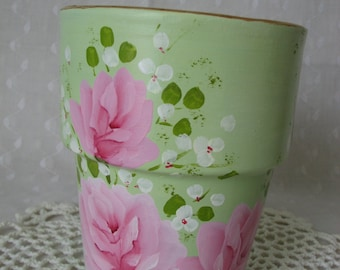 Hand Painted Terracotta Clay Decorative Flower Pot Pink Roses Shabby Mint Green