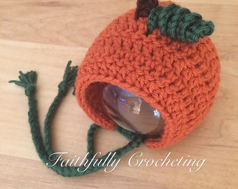 Newborn pumpkin bonnet... ready to ship... photography prop