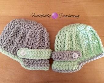 Newborn twin brim hats.. Newborn twin boy hats.. Newsboy hats.. Photography prop.. Ready to ship