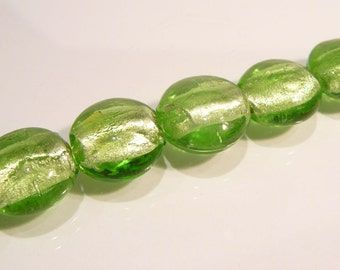 Green Silver Foil Disk BEADS....20mm...4 Beads