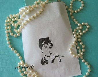 10 Audrey Hepburn, White Paper Bags, Paper Bags, Gift Bags, Party Favor Bags, Wedding Shower, Birthday, Hand Stamped