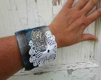 Hope Dream Believe Inspirational Doily Plaid Flannel Cuff Bracelet// Upcycled// emmevielle
