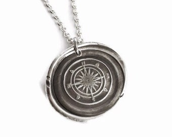 Large Compass Vintage Inspired Pendant - Fine Silver Wax Seal Style Necklace with Sterling Silver Chain