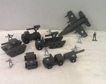 Military vehicles tank jeep fighter plane set
