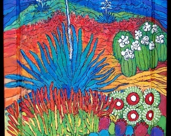 Desert Cactus Glory, Bright colors,painted with acrylic on a textured cupboard