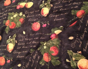 Upholstery Fabric - Village Citrus Grove - Black