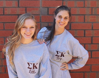 Sorority Little Long Sleeve Tee, Greek Big and Little T-Shirt, Sorority, Big and Little Gift, Gift for Her