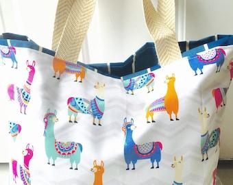 Llama tote, alpaca tote, beach bag, beach tote, diaper bag, diaper tote, tote, bag, purse, monogrammed tote, monogrammed bag, personalized