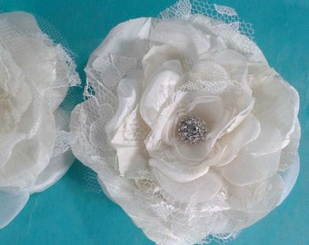 Custom Wedding hair flowerset for guendyro, Ivory, Silk, Lace, Rose hair set, G011 - bridal hair accessory
