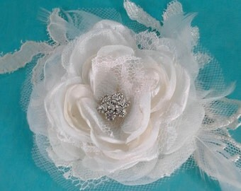 Bridal Hair rose, Ivory Lace, Organza Feather Rose Hair Clip F084 - bridal wedding hair accessory