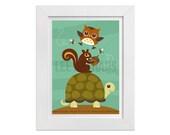 174 Woodland Animal Art - Owl Bees Squirrel and Turtle Wall Art -  Woodland Nursery Art - Art for Children - Turtle Print - Owl Print