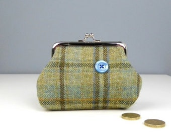 Snap closure purse, Wool purse, Tartan check purse, Unique coin snap purse, Gifts for her
